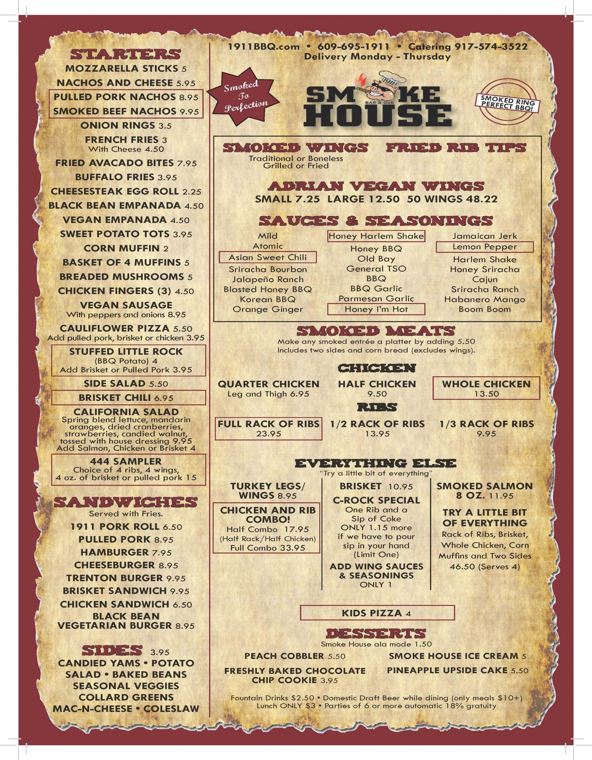 1911 Smoke House BBQ, 075-781880, 917530, July 2020, Main Menu WEB